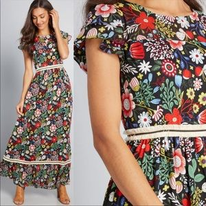 ModCloth 60s Floral Fringe Maxi Traffic People